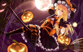Touhou, Halloween, anime, Kirisame Marisa, anime girls