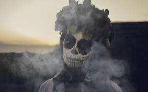 Skull Face, smoke, Dia de los Muertos, girl