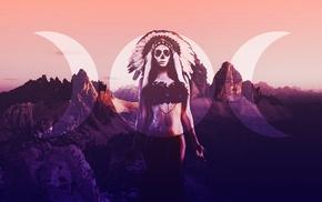 digital art, Dia de los Muertos, Skull Face, Moon, girl, landscape