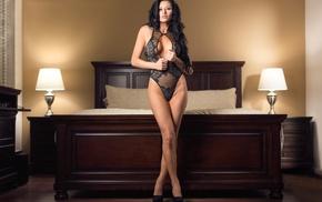 high heels, bed, portrait, black lingerie, girl