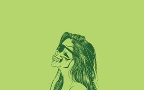 Skull Face, artwork, simple background, minimalism, sunglasses