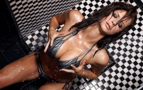 water drops, bikini, hand on  boobs, closed eyes, wet hair, Emily Addison