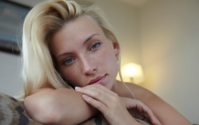 freckles, looking at viewer, Adele B, face, girl, blonde