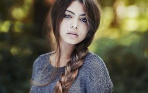 braids, portrait, eyes, sweater, girl outdoors, model