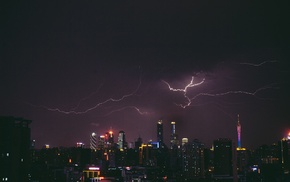 lightning, skyscraper, city, night, city lights