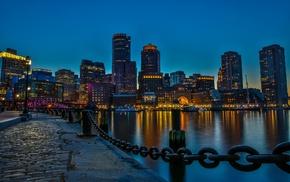 waterfront, skyscraper, chains, Boston, dock, night