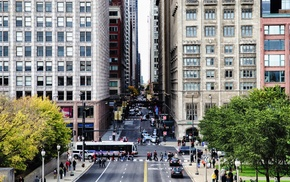 Chicago, street, cityscape, city, traffic, building