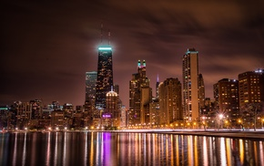 Chicago, city lights, city, skyscraper, water, reflection