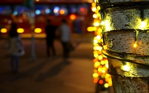 christmas lights, depth of field, bokeh, trees, city