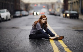 road, depth of field, girl outdoors, sitting, redhead, bokeh