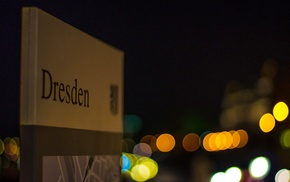 sign, city, Dresden, depth of field, bokeh, Germany