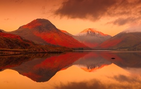 landscape, lake, mountains, England, sunset, Lake District