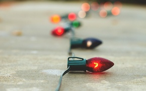 christmas lights, macro, bokeh