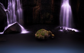 nature, long exposure, rock, waterfall