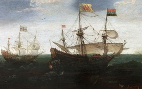 artwork, painting, ship