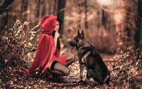 fantasy art, finger on lips, fishnet stockings, animals, Little Red Riding Hood, filter