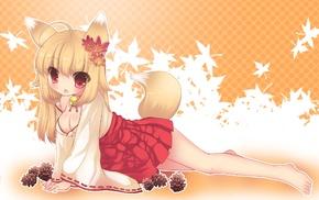 skirt, cleavage, original characters, kitsunemimi, anime girls, fox girl
