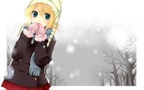 skirt, Kagamine Rin, Vocaloid, anime girls, green eyes, blonde