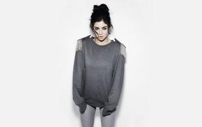 brunette, musician, singer, white background, girl, tight clothing