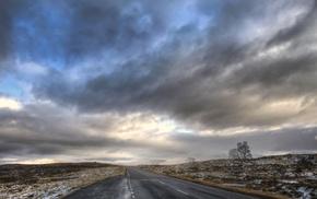 clouds, Scotland, road, landscape
