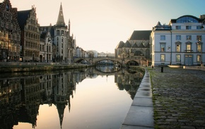 street light, sunlight, architecture, city, reflection, Belgium