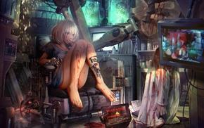 anime girls, laboratories, cyborg, mecha girls, steampunk, anime