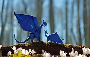 tail, flowers, dragon, depth of field, trees, wings