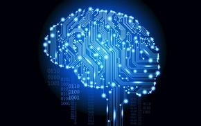 binary, digital art, brain, glowing, artificial intelligence