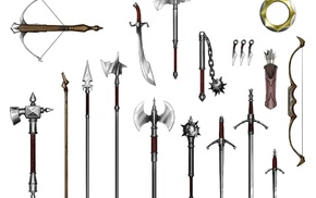 halberds, bow, spear, mace, crossbow, short sword