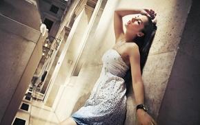 model, girl, dress, wall