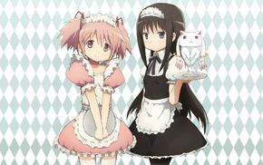 Kyuubey, dress, Kaname Madoka, Akemi Homura, maid, Mahou Shoujo Madoka Magica
