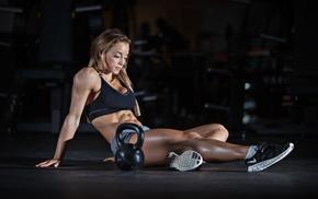 sports, girl, abs, fitness model, sports bra