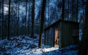 nature, landscape, hut, moonlight, trees, cold