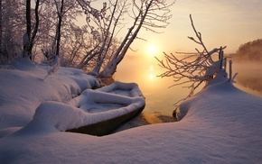 sunset, lake, winter, cold, snow, nature