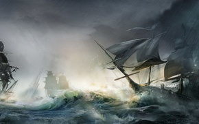 naval combat, artwork, ship