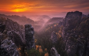 sky, mist, Germany, nature, forest, fall