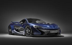 car, blue cars, simple background, spotlights, vehicle, McLaren P1