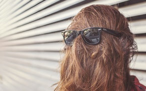hair in face, sunglasses