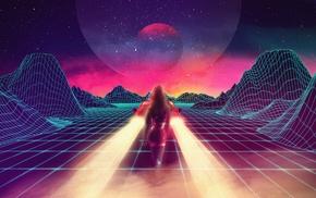 digital art, Retrowave, futuristic