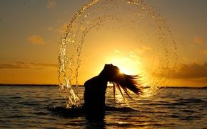 silhouette, sunlight, wet hair, girl, water