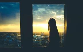 sunlight, silhouette, skyline, city, girl
