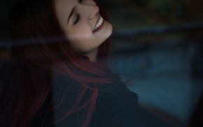 pierced nose, redhead, girl, smiling