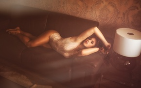 smoky eyes, lying on side, girl, armpits, hands in hair, couch