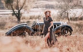 vehicle, girl, girl outdoors, Oldtimer, hat, car