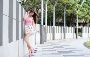 urban, white dress, girl, high heels, model, Asian