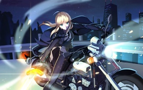 motorcycle, anime girls, FateZero, Fate Series, sword, Saber