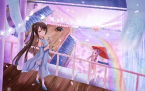 original characters, umbrella, cherry blossom, anime, anime girls