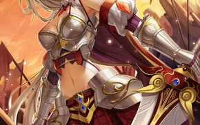 anime, sword, armor, original characters, anime girls, cleavage
