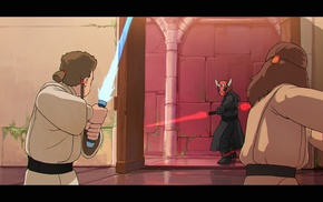 Star Wars The Phantom Menace, Qui, Gon Jinn, Darth Maul, Obi, Wan Kenobi