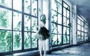 Megpoid Gumi, anime, window, Vocaloid, green hair, dress